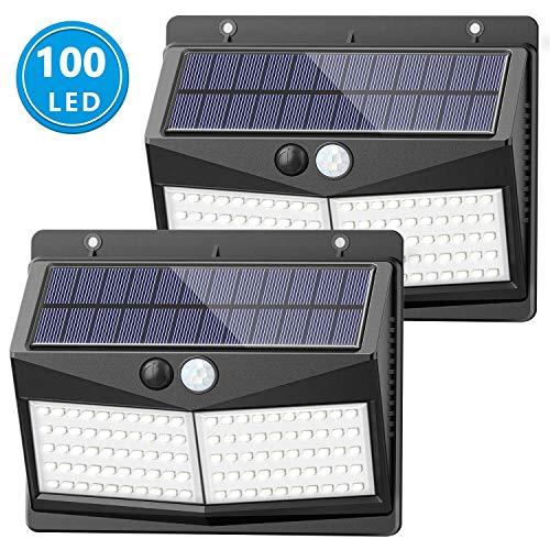 [Actualizado 50 LED] luces solares al aire libre, SEZAC luces de seguridad solares de 150° de ángulo amplio iluminación solar sensor de movimiento luces inalámbricas impermeables al aire libre