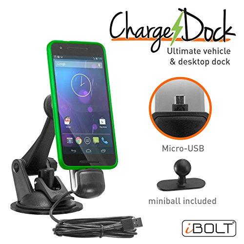 iBOLT ChargeDock microUSB Ultimate magnetisch Fahrzeug und Desktop Dock/Halterung w/2montagevarianten. Funktioniert mit den meisten Telefon und Fall Kombinationen (Samsung Galaxy S7, J7, Sony Xperia X, etc.) -