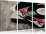 Schallplatte, Musik, music, DJ, 3-Teiler Leinwandbild 120x80 Bild auf Leinwand, XXL riesige Bilder fertig gerahmt mit Keilrahmen, Kunstdruck auf Wandbild mit Rahmen, gänstiger als Gemälde oder Ölbild, kein Poster oder Plakat