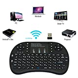 #7: MSE Compatible Wireless Touchpad Keyboard, Wireless Mini Keyboard, Bluetooth Keyboard Multifunction Mini Wireless Air Mouse Keyboard K25 Wireless Remote Mouse 92-Key Keyboard Touchpad Combo Wireless Keyboard with 6-axis Remote Mouse Function for Windows and Mac OS computers, Home theater PC users, IPTV, with QWERTY Keyboard & Air Mouse & IR remote for Windows and Mac OS computers, home theater PC users, IPTV, Internet TV, Google TV, Android TV box, PS3 and Xbox 360(Black)(Pack of 1 Set)
