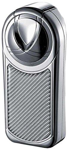 Visol dobrew III Triple Jet Flame schwarz matt Zigarre Feuerzeug, VLR501404, Silver Carbon Fiber