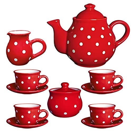 Juego de tetera de cerámica con diseño de lunares blancos y rojos de City to Cottage, tamaño grande, 137 l/60 oz/4 – 6 tazas de tetera, jarra de leche, azucarero, cuatro tazas y platillos, set de té de cerámica, regalo para los amantes del té.