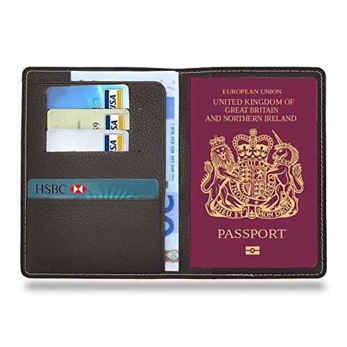 MPTECK @ Fundas Pasaporte Funda para pasaporte de cuero PVC Cartera de piel para pasaporte Caja Sostenedor Cubierta Organizador Protector con 3 huecos para tarjeta de crédito y billete Tarjetas Identificación Accesorios Viaje Gris