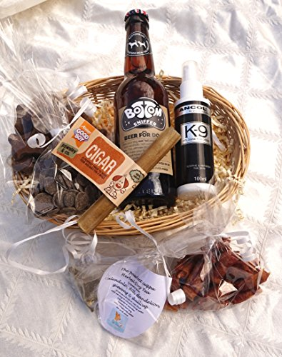 LUXURY GIFT WRAPPED VALENTINE DOG HAMPER FOR HIM WITH HEART TAG, DOG BEER, DOG TEA, TREATS, EDIBLE CIGAR AND COLOGNE - FOR THE REAL LOVE OF YOUR LIFE!
