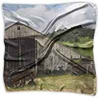 Old Wooden Barn With Rusted Tractor Women Large Square Satin Headscarf Silk Like Neckerchief