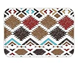 VVIANS Doormat Native American Decor Retro Grunge Maya Latin Mexican Animistic Motifwith Hippie ArrowImage Fabric Bathroom Decor Set with Hook Multi 23.6 W X 15.7 W Inches