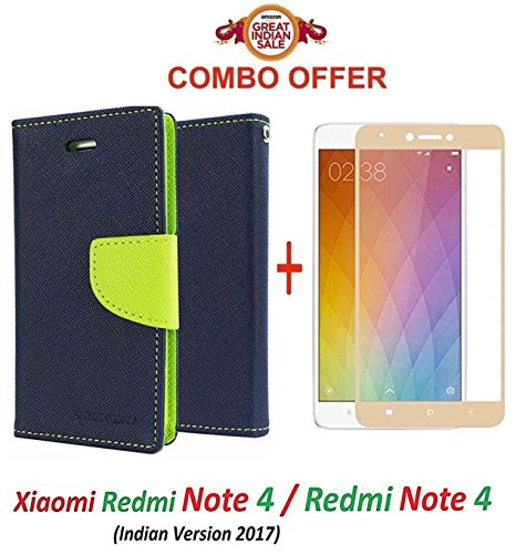 Goelectro Xiaomi Redmi Note 4 / mi redmi note 4 / Redmi Note 4 (COMBO OFFER) Flip Cover Case Wallet Style for Redmi Note 4 ( Blue:green ) + 2.5D curved 3D Edge to Edge Tempered Glass Screen Protector ( Gold )
