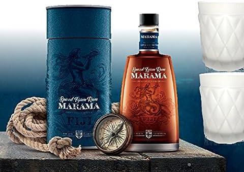 100% Rum Rarität| Fidschi spiced Rum| Sonderedition, limitiert im Set mit Geschenkverpackung & 2 white frosted Rum-Gläsern| Geburtstags-geschenk für Männer & Kenner| Fernweh Weltreise Fiji