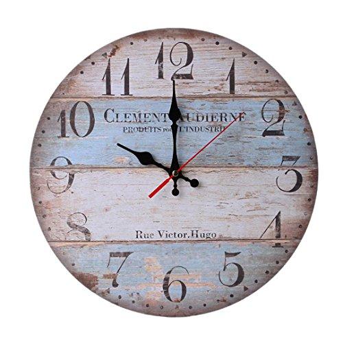 Schlafzimmer Antik Stil Uhr (samLIKE wanduhr,Vintage Style Nicht-tickende Stille Antike Holz Wanduhr für Home Kitchen Office (C))