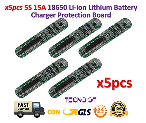 TECNOIOT 5pcs 5s 15a Li-ion litio Battery 18650 Charger PCB BMS 18.5v Cell Protection -