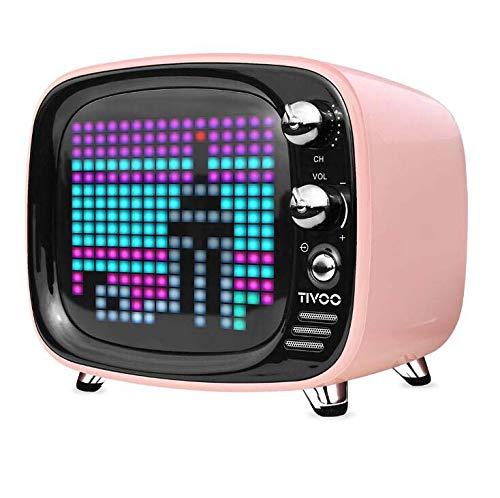 CE-LXYYD Divoom Tivoo Pixel Bluetooth-Lautsprecher, tragbarer drahtloser 6-W-Stereo-Boom-Basslautsprecher für den Innen- und Außenbereich, 8-stündige Spielzeit mit 3000-mah-Powerbank, langlebig,pink (Dj-stereo-system-mit Beleuchtung)