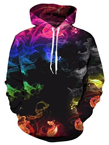 Schwarze Fleece-sweatshirt (Mens Damen Hoodies Lustige 3D Bunte Feuer Rauch Gedruckt Neuheit Pullover Mit Kapuze Langarm Sweatshirt mit Fleece Futter Schwarz M)