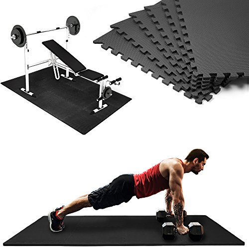 Deuba Bodenschutzmatten 6 Stück Unterlegmatte schwarz Trainingsmatten 2,27m² Puzzlematte Schutzmatte Fitness Geräte Matte