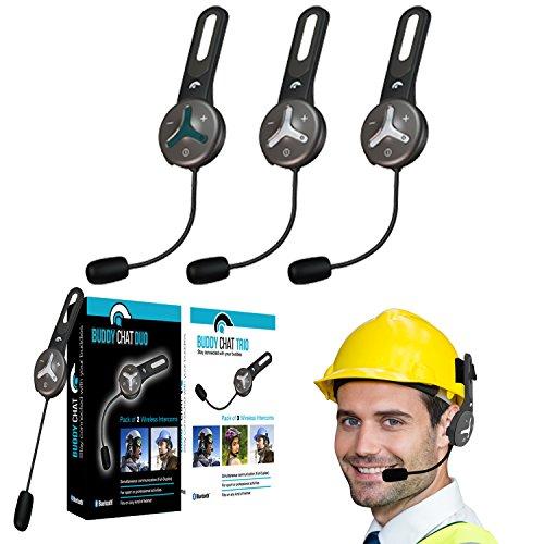 Buddy Chat Trio - 3er Set Universal Bluetooth 3.0 Helm Headset Gegensprechanlage Intercom 1km Reichweite Freisprechanlage Kommunikationssystem Sport- und Freizeit für Smartphone/Handy