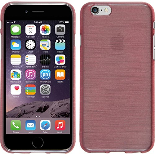 PhoneNatic Case für Apple iPhone 6s / 6 Hülle Silikon rosa brushed Cover iPhone 6s / 6 Tasche + 2 Schutzfolien Rosa