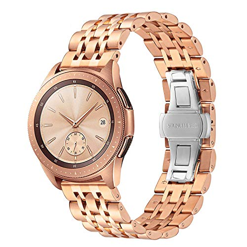 TRUMiRR Kompatibel mit Garmin vívoactive 3/Garmin vívoactive 3 Music Armband, 20mm Rose Gold Uhrenarmband Edelstahl Metall Ersatz Band für Samsung Galaxy Watch 42 mm/Galaxy Watch Active