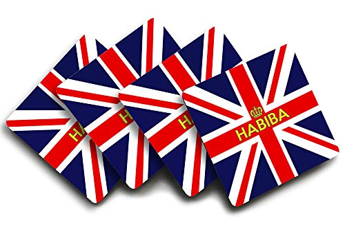 Habiba, Personalised Coaster Set, Union Jack Flag and Crown Themed Design,  Good Quality, Set of Four, Size 90mm x 90mm