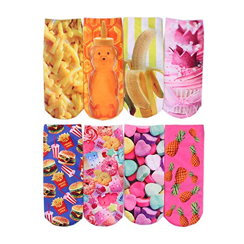 Centrawin Damen Lustige Crazy 3D Cartoon Tiere Früchte Essen Muster Crew Socken Value Pack