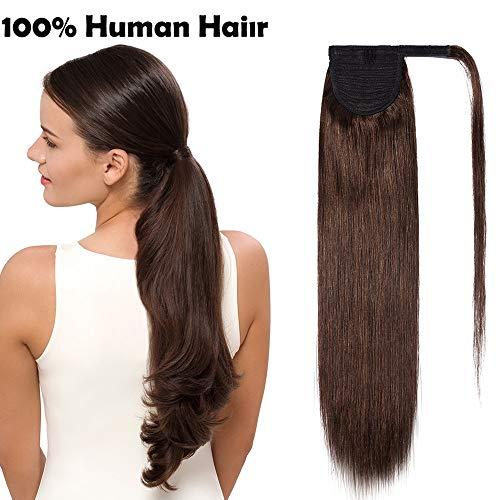 Extension coda capelli veri clip di cavallo 100% remy human hair lisci umani lunghi 50cm ponytail extensions fascia unica 95g #4 castano medio