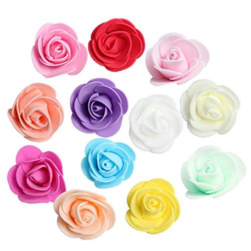 Homyl 100er Set Schaum Rosen Künstliche Blumen Schaumköpfe Rosenköpfe Rosenblüten Hochzeit Deko - Gemischt, 3.5cm