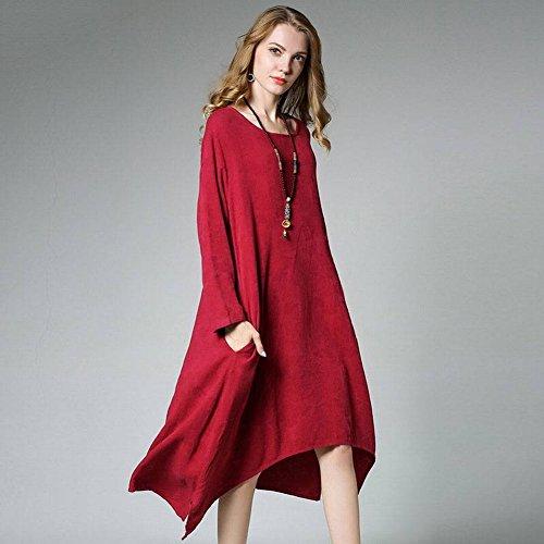 Femmina grasso sfuso Loose Plus size cotone scuro modello irregolare abito a maniche lunghe prussian blue