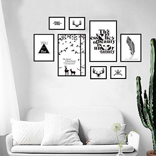 SESO UK- Ensemble de Cadre Photo, Cadre Photo, Ensemble de Cadre de Mur avec 8 Cadres de Haute qualité, Ensemble de Mur de Cadre Photo Grande, Couvertures 96cm X 167cm, Décorations de Mur Best