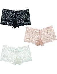12cb0de13da3 Marilyn Monroe Intimates Women's Lacey Cheeky Boyshorts Panties (3Pr), Black  White Pink