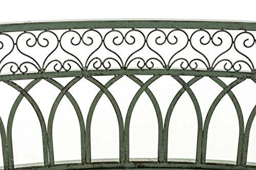 CLP Metall-Gartenbank AMANTI mit Armlehne, Landhaus-Stil, Eisen lackiert, Design antik nostalgisch, Form oval ca. 110 x 55 cm Antik Grün - 5