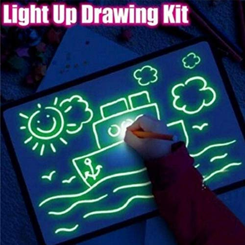 FOONEE Light Drawing Board for Kids, A5 Funny Reusable Fluorescent Drawing Writing Board with Pen, Light Up Drawing Pad Special Christmas/Birthday Gift for 3-8 Years Old Boys & Girls