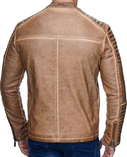 Redbridge Herren Jacke Übergangsjacke Biker Lederjacke Echtleder Kunstleder Baumwolle mit gesteppten Bereichen Camel - Kunstleder