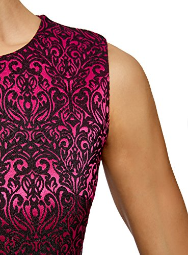 oodji Ultra Damen Tailliertes Jacquard-Kleid Rosa (4729J)