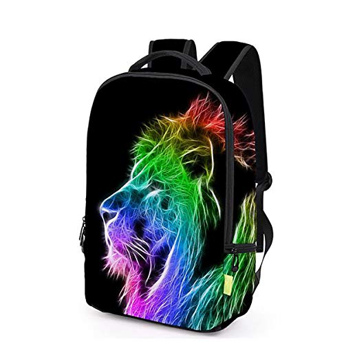 3d Printing Backpack, 3d Lion Head Outdoor Cool Travel Sports Double Backpack Animal ()