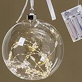 Glaskugel Weihnachtskugel ca 20 LED Lämpchen zum Hängen Hänger Stern Perlen D ca 15 cm Deko Weihnachten Baum Tür Fenster