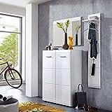 Lomado Komplett Garderoben Set ● 3-teilige Flurgarderobe Flurmöbel in Hochglanz weiß ● Schuhschrank, Spiegel, Paneel ● Made in Germany