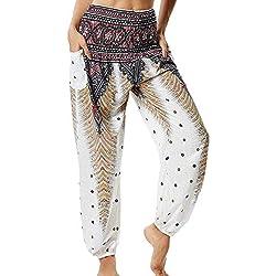 Pantalones de Yoga Sueltos Mujer Harem Boho del Lazo del Pavo Real Flaral Funky #2 Flor Impresa-A
