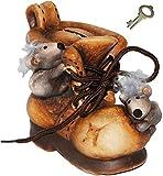 alles-meine.de GmbH 3-D Effekt _ Spardose -  Schuh mit Lustigen Mäusen  - mit Schlüssel und Schl..