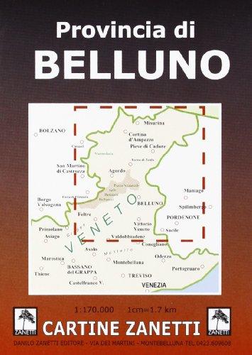 Provincia di Belluno. Carta stradale 1:170.000 (Cartine stradali)