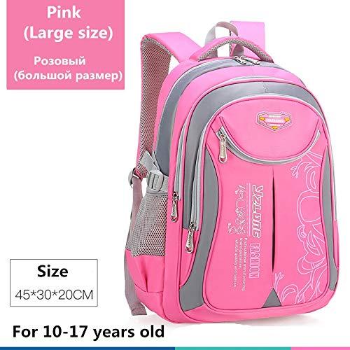 Schultasche für Kinderrucksack-Tasche Kinderschulsack Teen Junge Mädchen Hohe Kapazität wasserdichte Ausrüstung Kinderschultüte Mochila Big Pink