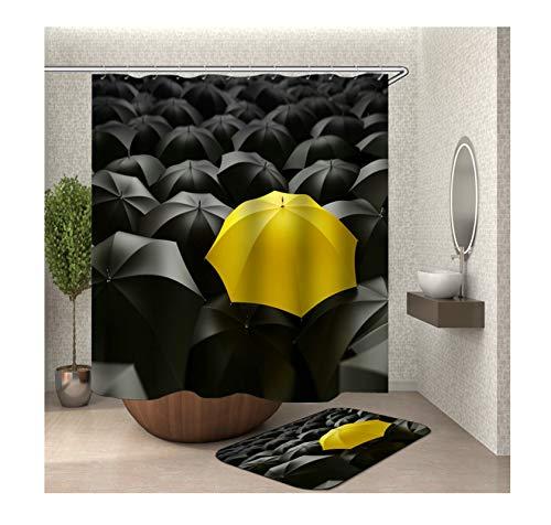 AmDxD Duschvorhang Badezimmerteppiche Set aus Polyester  3D-Druck Gelb Regenschirm Muster Design Bad Vorhang Badezimmerteppich   Bunt   mit 12 Duschvorhangringen für Badewanne Badezimmer - 120x180CM