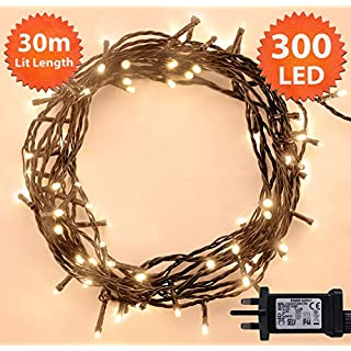 Christmas Lights 300 LED 30m Warm White Indoor/Outdoor Fairy Lights String Tree Lights Festival/Bedroom/Party Decorations Memory Mains Powered 98ft Lit Length 5m/16ft Lead Wire Green Cable