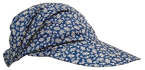 Cool4 Cool4 Sommer Schirm Kopftuch Visor Strand Cap Bandana Sonnenschutz Mütze Chemo A01 (Jeansblau (weiß geblümt))