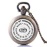 Kreative antikes Vintage-Geschenk für den Mann I Love You, Quarz-Taschenuhr, Kettenanhänger, analog