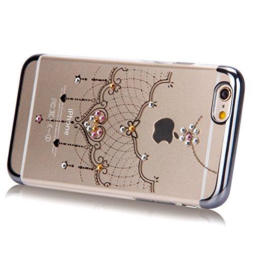 iPhone 6S Plus Hülle,iPhone 6 Plus Hülle,SainCat Glitzer Silikon Schutz HandyHülle für iPhone 6 Plus/6S Plus Silikon Hülle Gold Muster Tasche Handyhülle Bling Glänzend Glitzer Strass Kristall Diamant  Schwarz-Spitze-Halskette