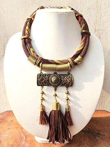 Brown-Akkord mit Quaste Halskette / Gold-Statement Halskette / Big Bold Chunky Halskette / Geometrische Halskette / Boho Halskette / Lätzchen Halskette (Chunky Halskette Jewel)