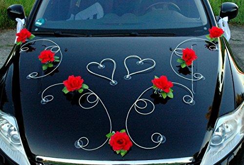 DEKOR Auto Schmuck Braut Paar Rose Deko Dekoration Autoschmuck Hochzeit Car Auto Wedding Deko PKW (Rot / Weiß)