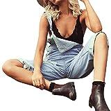 Fenverk Damen Overall Jeans Mit Hoher Taille Stretch DüNn Skinny Hose Zerrissen High Waist Jeanshose Hochbund MäDchen Frauen(Hellblau,S)
