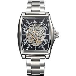 Alienwork IK mechanische Automatik Armbanduhr Skelett Automatikuhr Uhr schwarz silber Edelstahl 98184G2-01