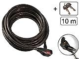 Kabelschloss extra Lang Länge: 10m Durchmesser 12 mm Farbe: Grau