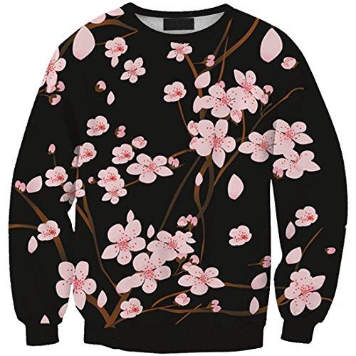YICHUN Femme Fille Tops de Loisir T-Shirts Fin Sweaters Léger Sweat-shirts Pulls Blouse Pull-Overs Fleurs 2#