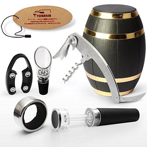 yobansa roble barril de vino sacacorchos, abridor de vino Set, Accesorios de vino Set de 5piezas OakBarrel SS - 3